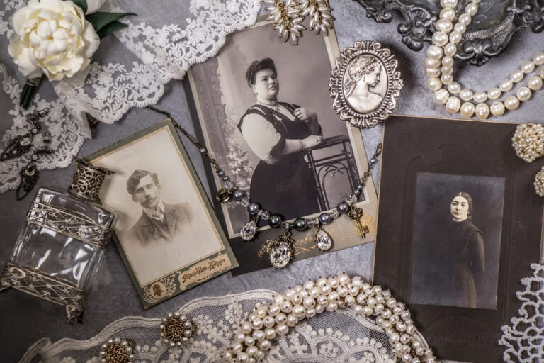 Three vintage photographs, lace, jewelry
